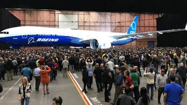 The Boeing 777X launch on Friday.