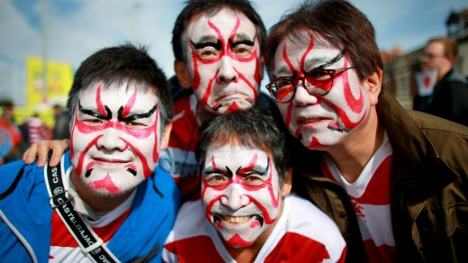Japan fans before the Rugby World Cup match at the Kingsholm Stadium, Gloucester, in 2015.