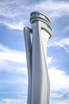 Air traffic control tower of Istanbul's new airport.