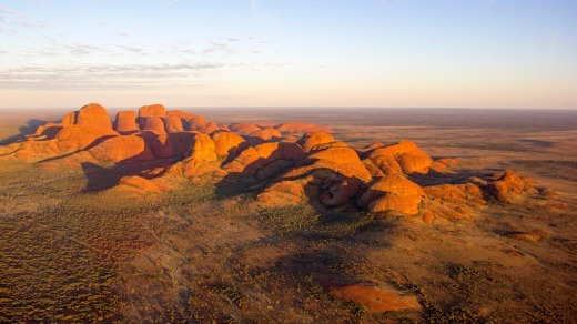 Aerial View of Kata Tjuta at sunrise, Red Centre.