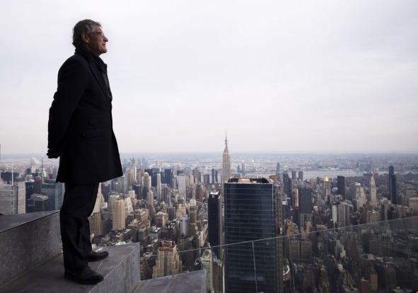 "Jay Cross, president of Related Hudson Yards, stands on an outdoor observation deck named ""The Edge,"" 1100 feet (367 ..."