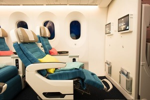 There are 32 seats in the pastel-coloured premium economy cabin decked out in turquoise tones inspired  by the colours ...