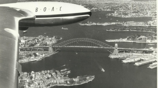The De Havilland Comet's first arrival in Australia (before the Sydney Opera House was built).