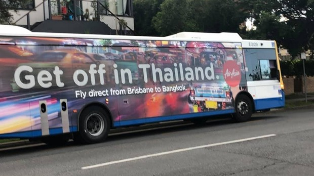 "The council bus was spotted carrying the ""inappropriate"" advertisement across Brisbane."