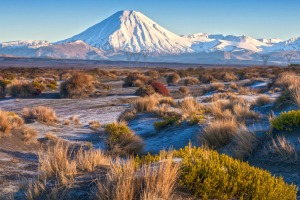 Mount Ngauruhoe and the Rangipo Desert in  Tongariro National Park.
