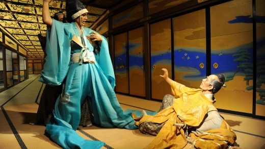 Edo Wonderland figures play out a dramatic scene.