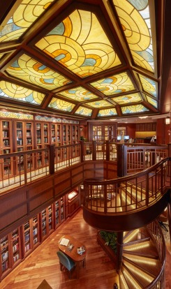The two-storey library on board.