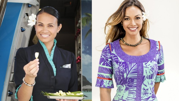 Business at the front, party at the back: Air Tahiti Nui's flight attendants change into island themed dresses mid-flight.