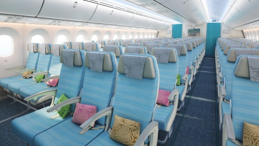 Economy class on board Air Tahiti Nui's Boeing 787 Dreamliner.