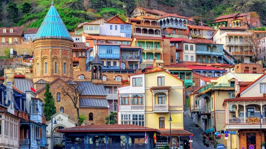 Traditional houses in Tbilisi's Old Town.