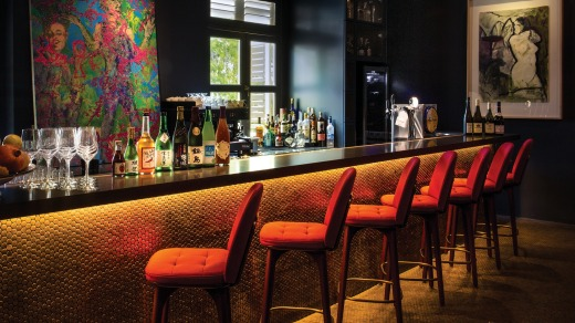 The bar at Coriander Leaf, one of the restaurants at CHIJMES.