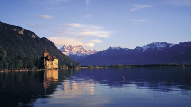Chillon Castle near Montreux at dusk.