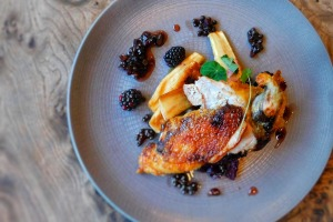 Glasgow goes gourmet: A roast guinea fowl with salt-baked celariac, parsnip, red cabbage and pickled blackberries.