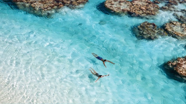 Swimming at the Brando, Tahiti.