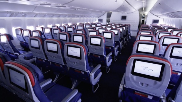 Delta Airlines economy cabin on the Sydney to Los Angeles route.