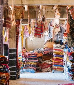 Colourful rugs for sale in the souks.