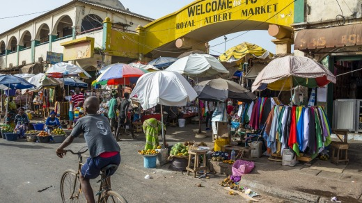 A city market in The Gambia.