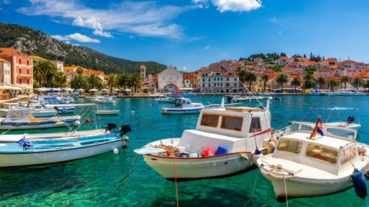 Boats docked in the old Adriatic island town of Hvar, Croatia.