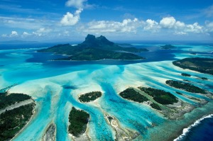 An aerial view of Bora Bora in French Polynesia.