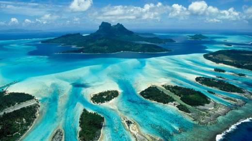 An aerial view of breathtaking Bora Bora.