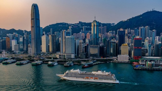 Viking Sun in Hong Kong. Viking's longest cruise is 138 days from Fort Lauderdale in Florida to Greenwich (London).