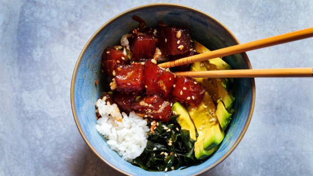 A traditional Hawaiian poke tuna dish.