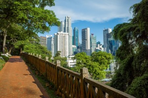 A view of downtown Singapore from the Fort Canning walking path.