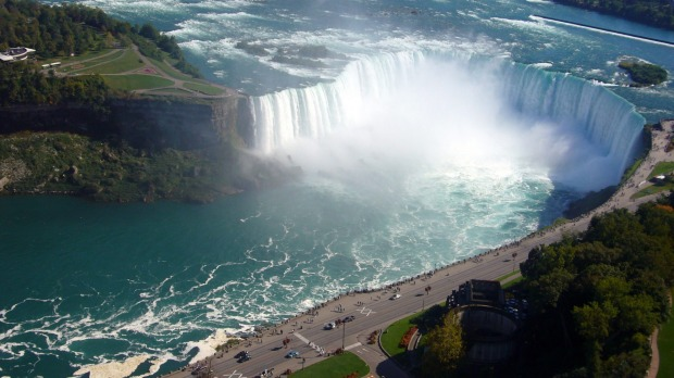 Niagara Falls on the Canada-US border.