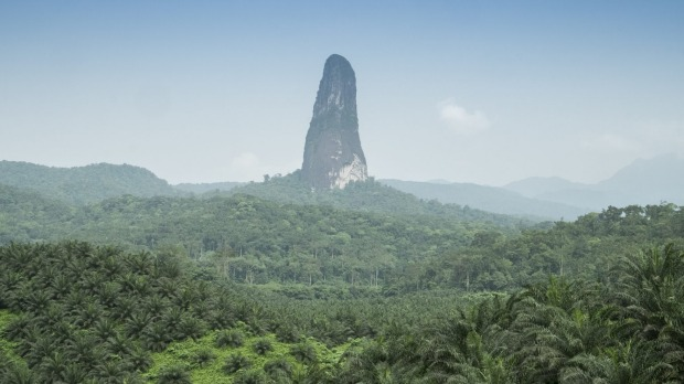The Pico Cao Grande, a landmark needle-shaped volcanic plug peak in Sao Tome and Principe.