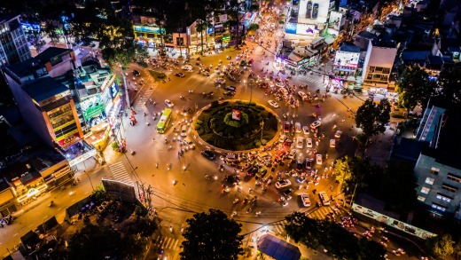 Nga sau Cong Hoa roundabout or traffic circle in Ho Chi Minh City.