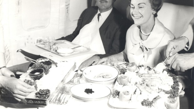 A first class meal on Qantas inn 1966.