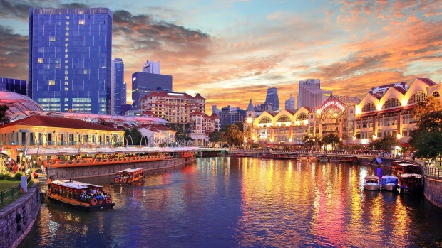 The Clarke Quay entertainment district flanks the Singapore River.