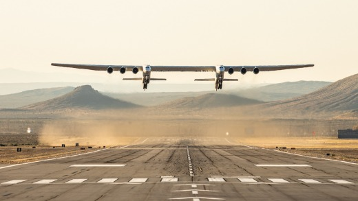 The Stratolaunch aircraft completed its first flight, flying for 2.5 hours over the Mojave Desert, reaching a top speed ...