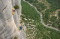 Rock climbers at Verdon Gorge, in the Alpes-de-Haute-Provence, France.