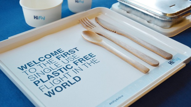 In December, the world's first single-use plastic-free flights flew across the Atlantic between Lisbon and Natal in Brazil.
