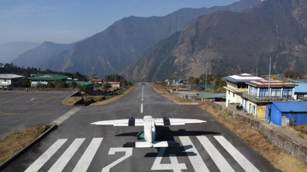 The tiny runway at Lukla.