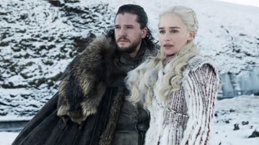 Emilia Clarke and Kit Harington in Game of Thrones.