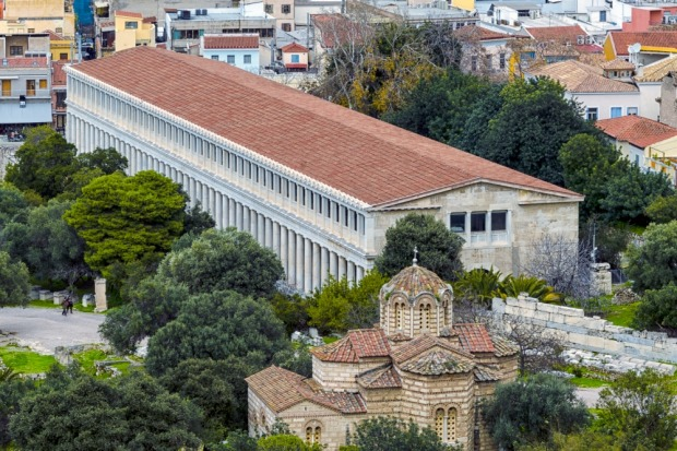 The Stoa of Attalos, Athens: Sitting rather incongruously amongst the ruin of the Ancient Agora, the Stoa of Attalos is ...