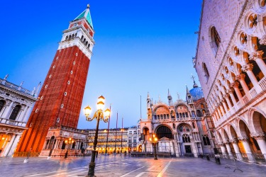 St Mark's Campanile, Venice: Soaring just under 100 metres high, and standing alone in a corner of St Mark's Square, the ...