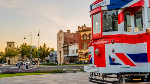This so-called Royal Tram commemorates the Queen's 1954 visit to Bendigo, when a special tram was decked out in red, ...