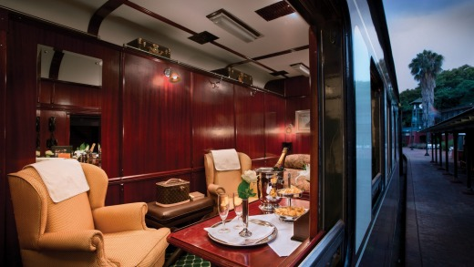 Inside the luxury train.