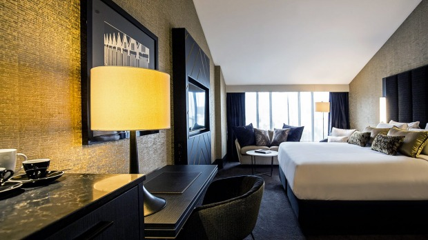 The black and gold colour scheme of the exterior extends to the reviewer's comfortable and commodious room.