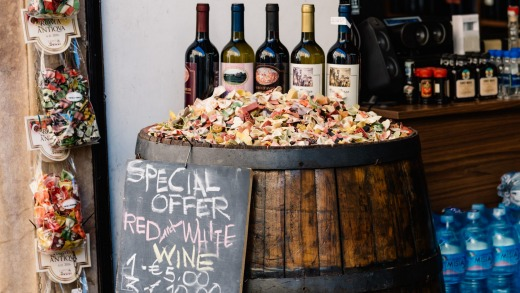 Italy is the world's largest producer of wine, with plenty of it on sale in the Eternal City.