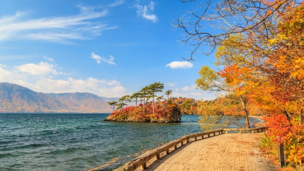View of Lake Towada in autumn season, Towada Hachimantai National Park, Aomori, Japan  tra24-online-japan