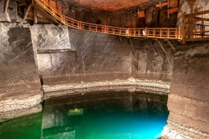 The salt lake in the Erazm Baracz Chamber of the Wieliczka Salt Mine.