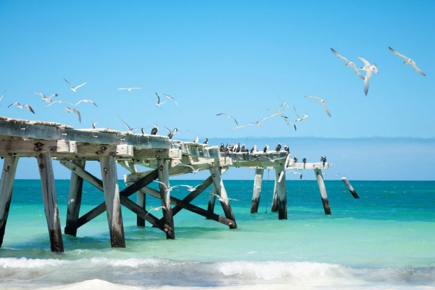 The picturesque, but derelict, jetty at Eucla.