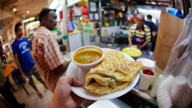 A roti stall at a hawker centre in Little India.
