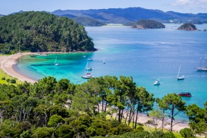 The azure waters of the Bay of Islands, New Zealand.