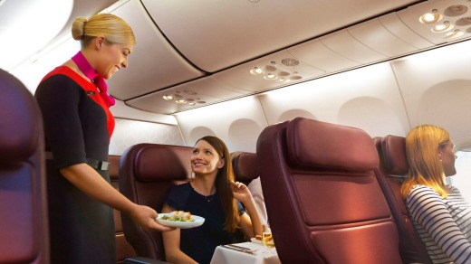 The female flight attendants are attentive, but also relaxed and fun, as fits with the informality of the destination.