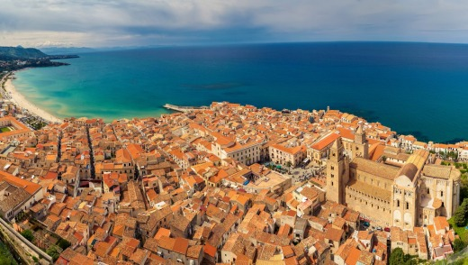A panoramic view of Cefalu.